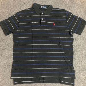 Polo Ralph Lauren Striped Pony Polo Shirt Black L